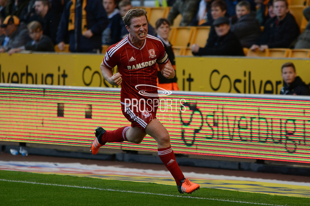 Middlesbrough midfielder Grant Leadbitter celebrates scoring the penalty during the Sky Bet Championship match between Wolverhampton Wanderers and Middlesbrough at Molineux, Wolverhampton, England on 24 October 2015. Photo by Alan Franklin.