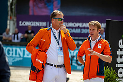 HOUTZAGER Marc (NED), BLES Bart (NED)<br /> Rotterdam - Europameisterschaft Dressur, Springen und Para-Dressur 2019<br /> Parcoursbesichtigung<br /> Longines FEI Jumping European Championship - 1st part - speed competition against the clock<br /> 1. Runde Zeitspringen<br /> 21. August 2019<br /> © www.sportfotos-lafrentz.de/Stefan Lafrentz