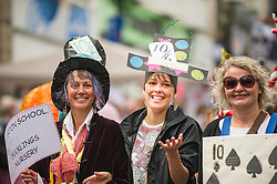 Participants in the Mazey Day celebrations in Penzance, Cornwall.