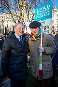 Lord Alf Dubs and Award winning author Sir Michael Morpurgo join supporters of the Child Refugee charity Safe Passage calling on Peers in the House of Lords to back an amendment and uphold refugee family reunion on the 20th of January 2020, Parliament Square, Westminster, London, United Kingdom. 95% of the children currently receiving legal support from the charity Safe Passage International to reunite with relatives in the UK would not be eligible for family reunion under current UK Immigration Rules. (photo by Andrew Aitchison / In Pictures via Getty Images)