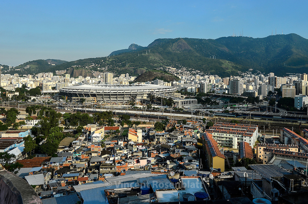 The new Maracanã stadium - seen from the top of Mangueira favela - is still under construction - until the World Cupp 2014; however, it reopened for test & friendlymatches, and the Confederations Cup.