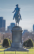 Statue honoring George Washington and the Boston Public Gardens