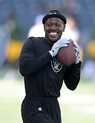 Aug 22, 2019; Winnipeg, Manitoba; CAN; Oakland Raiders wide receiver Antonio Brown (84) throws the ball before the game against the Green Bay Packers at Investors Group Field. The Raiders defeated the Packers 22-21.