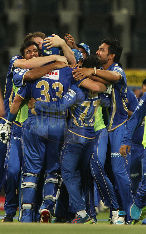 Rajasthan Royals celebrate the win during the SUPER over in match 19 of the Pepsi Indian Premier League 2014 Season between The Kolkata Knight Riders and the Rajasthan Royals held at the Sheikh Zayed Stadium, Abu Dhabi, United Arab Emirates on the 29th April 2014<br /> <br /> Photo by Ron Gaunt / IPL / SPORTZPICS