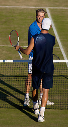 LIVERPOOL, ENGLAND - Thursday, June 12, 2008: Amer Delic (USA) shakes hands with Frederik Sletting-Johnsen (NOR) after his victory during the Men's Singles on Day Three of the Tradition-ICAP Liverpool International Tennis Tournament at Calderstones Park. (Photo by David Rawcliffe/Propaganda)