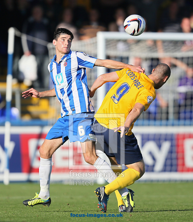 Picture by Paul Gaythorpe/Focus Images Ltd +447771 871632<br /> 28/09/2013<br /> Jack Baldwin of Hartlepool United and James Constable of Oxford United during the Sky Bet League 2 match at Victoria Park, Hartlepool.