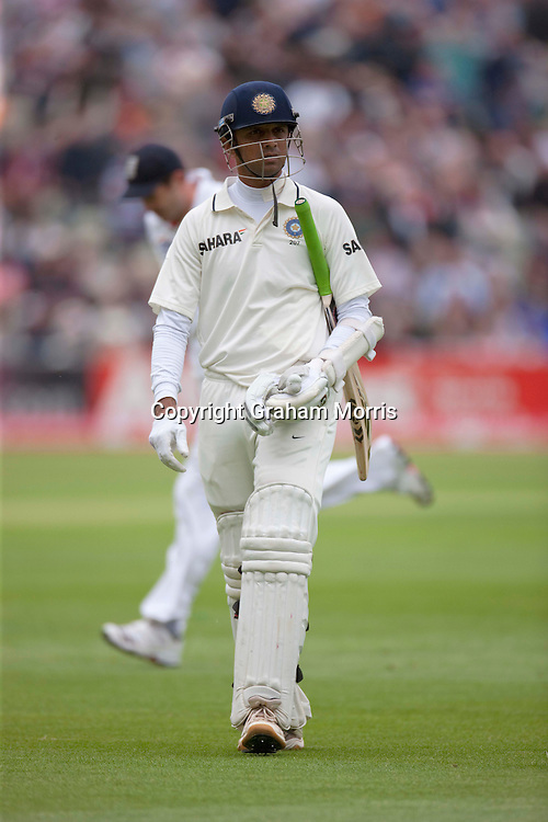 Rahul Dravid walks off after being bowled by Tim Bresnan during the third npower Test Match between England and India at Edgbaston, Birmingham.  Photo: Graham Morris (Tel: +44(0)20 8969 4192 Email: sales@cricketpix.com) 10/08/11