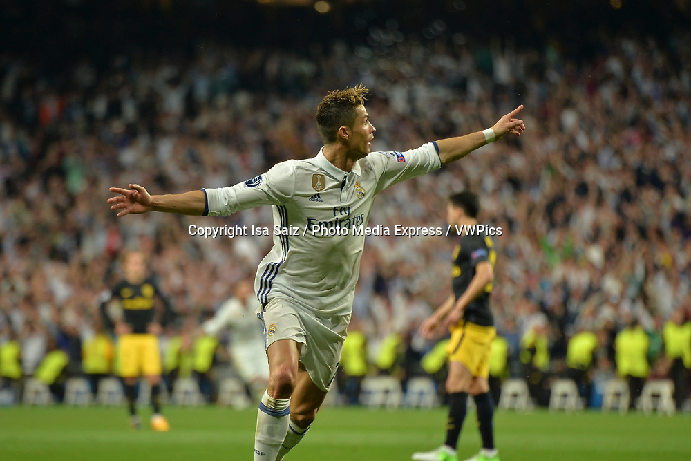 May 2, 2017- Madrid, Spain. Cristiano Ronaldo celebrates after scoring a goal. UEFA Champions League semi-final first leg. Real Madrid defeated Atletico de Madrid 3-0 with a hat-trick scored by Cristiano Ronaldo (10, 73 and 86 min). Santiago Bernabéu Stadium, Madrid, Spain. Photo by Isa Saiz | PHOTO MEDIA EXPRESS