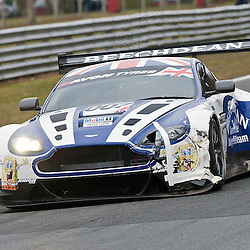 Race 1 - At the Avon Tyres British GT Championship held at Oulton Park, Cheshire, UK..A badly damaged Beechdean AMR, Andrew Howard & Jonny Adam, Aston Martin Vantage GT3, GT3.1st April 2013 WAYNE NEAL | STOCKPIX.EU