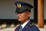 Uniformed Japanese guard at the Imperial Palace, Kyoto, Japan