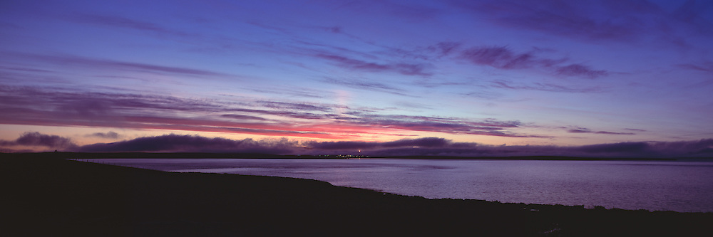 Sunset over Scapa Flow overlooking the Oil Terminal at Flotta