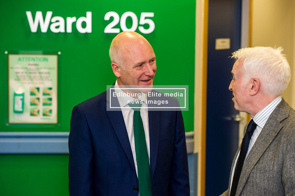 Pictured: Joe FitzPatrick and John Casey, Clinical advisor for organ transplantation<br /> <br /> Organ Donation Week marked. Public Health Minister Joe FitzPatrick met with Kathryn Hand, who underwent life-changing islet cell transplantation, at the Royal Infirmary, Edinburgh, today to mark Organ Donation Week. Mr FitzPatrick was ahown around by Mr John Casey, Clinical advisor for organ transplantation<br /> <br /> Ger Harley: 3 September 2018