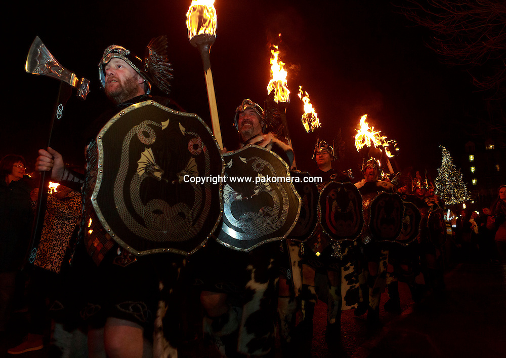Edinburgh. Uk.<br /> UP HELLY AA VIKINGS<br /> At Edinburgh's Hogmanay Torchlight Procession takes place in the heart of Edinburgh heading to Carlton Hill.
