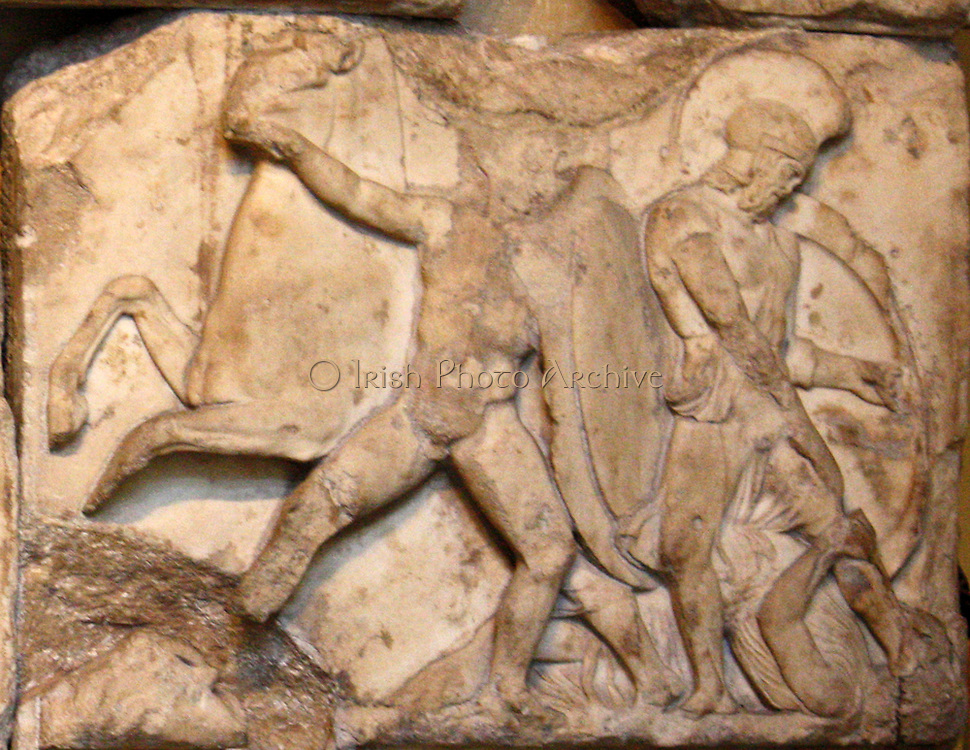 Detail from the Nereid Monument. Lykian tomb, found in Xanthus, Turkey. Built around 390-380 BC