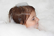 Emily with lots of bubbles