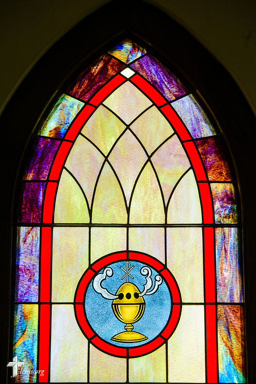 Stained glass depicting incense at Zion Evangelical Lutheran Church, Lu Verne, Iowa, on Sunday, July 9, 2017. LCMS Communications/Erik M. Lunsford