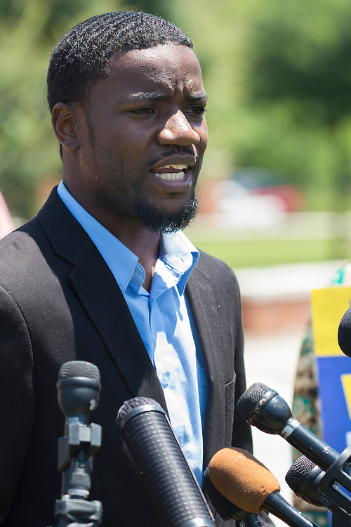 Dominique R. Alexander, president and founder of Next Generation Action Network, speaks during a press conference outside the McKinney Police Headquarters in McKinney, Texas on June 8, 2015.  (Cooper Neill for The New York Times)