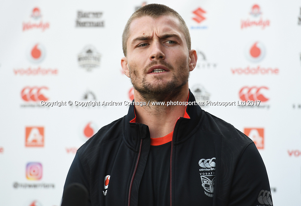 Kieran Foran.<br /> Vodafone Warriors media session. Mt Smart Stadium Auckland, New Zealand. NRL Rugby League. Wednesday 16 August 2017 &copy; Copyright photo: Andrew Cornaga / www.photosport.nz