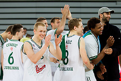 Sasu Salin, Jaka Blazic, Deon Thompson, Robert Rothbart of Olimpija after the basketball match between KK Union Olimpija and KK Sentjur in 4th Round of Telemach League for Slovenian National Champion 2011/12, on April 4, 2012, in Arena Stozice, Ljubljana, Slovenia. (Photo by Vid Ponikvar / Sportida.com)