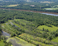 Aerial of Fannie Stebbins Memorial Wildllife Refuge and floodplain marshes along the Connecticut River at Longmeadow, MA