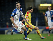 Shane Duffy (Blackburn Rovers) turns to fetch the ball as it goes towards his goal during the Sky Bet Championship match between Blackburn Rovers and Rotherham United at Ewood Park, Blackburn, England on 11 December 2015. Photo by Mark P Doherty.