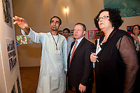 Afgan Muhammed Fateh Kakar from Limerick with Minister Ciaran Cannon and Dr. Katie Sweeney,  CEO Mayo VEC at the exhibition and performance day at the Radisson Blu Hotel Galway as part of the VEC's Adult Refugee Programme. Photo:Andrew Downes.