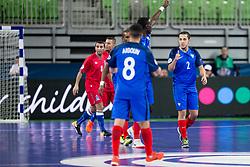 Sid Belhaj of France celebrate goal during futsal match between France and Azerbaijan at Day 4 of UEFA Futsal EURO 2018, on February 2, 2018 in Arena Stozice, Ljubljana, Slovenia. Photo by Urban Urbanc / Sportida