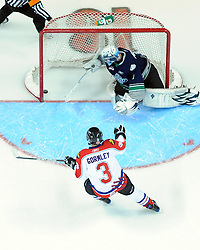 Brandon Gormley of the Moncton Wildcats scored on Calvin Pickard of the Seattle Thunderbirds  in the Home Hardware CHL Top Prospects Skills Competition in Windsor, ON on Tuesday. Photo by Aaron Bell/OHL Images.