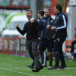 Motherwell Manager Stephen Robinson celebrates after Motherwell score their second goal in the match between Hamilton Accies v Motherwell, Ladbrokes Premiership, The Super Seal Stadium, Saturday 14 October 2017  (c) Angie Isac | SportPix.org.uk