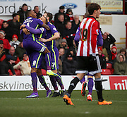 Charlton Athletic midfielder, Callum Harriott (11) celebrating scoring opening goal to make score 0-1 during the Sky Bet Championship match between Brentford and Charlton Athletic at Griffin Park, London, England on 5 March 2016. Photo by Matthew Redman.