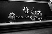 Mauro Antonini and Simone Di Stefano. Casapound movement presents the electoral program in the italian Chamber of Deputies. It's the first time that a fascist-inspired group enters in the Italian Parliament since 'fascist twenty years'. Rome 9 Febraury 2018. Christian Mantuano / OneShot
