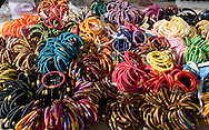 Colourful bangles for sale in the bazar in Pushkar, Rajasthan, India