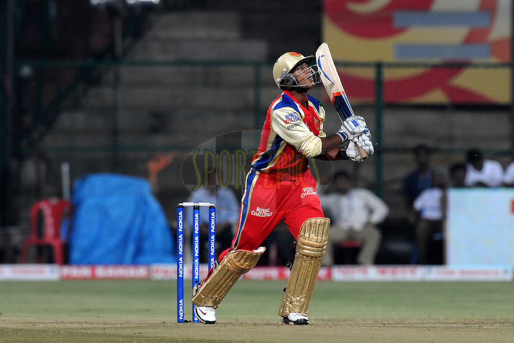 Mayank Agarwal of Royal Challengers Bangalore bats during match 1 of the NOKIA Champions League T20 ( CLT20 )between the Royal Challengers Bangalore and the Warriors held at the  M.Chinnaswamy Stadium in Bangalore , Karnataka, India on the 23rd September 2011..Photo by Pal Pillai/BCCI/SPORTZPICS