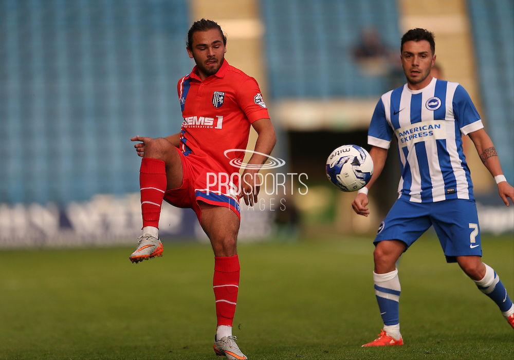Bradley Dack during the Pre-Season Friendly match between Gillingham and Brighton and Hove Albion at the MEMS Priestfield Stadium, Gillingham, England on 29 July 2015.