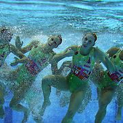 The team from Australia competes during the Synchronized Swimming team technical routine at the Aquatics Centre, Olympic Park, during the London 2012 Olympic games. London, UK. 9th August 2012. Photo Tim Clayton