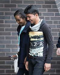 © Licensed to London News Pictures. 19/10/2016. Croydon, UK. A third group of migrants, including Shamsher Sherin the 13 year old refugee who Lily Allen apologised to in the Calais jungle camp 'on behalf of my country' has arrived at the Home Office immigration centre in Croydon. British authorities are bringing over about 100 children this week to be reunited with their relatives. French authorities are expected to start dismantling the camp this week. Photo credit: Peter Macdiarmid/LNP