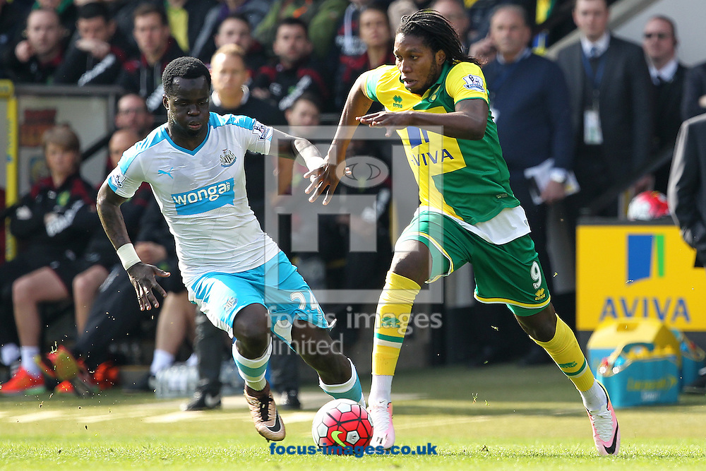 Dieumerci Mbokani of Norwich and Cheick Tiote of Newcastle United in action during the Barclays Premier League match at Carrow Road, Norwich<br /> Picture by Paul Chesterton/Focus Images Ltd +44 7904 640267<br /> 02/04/2016