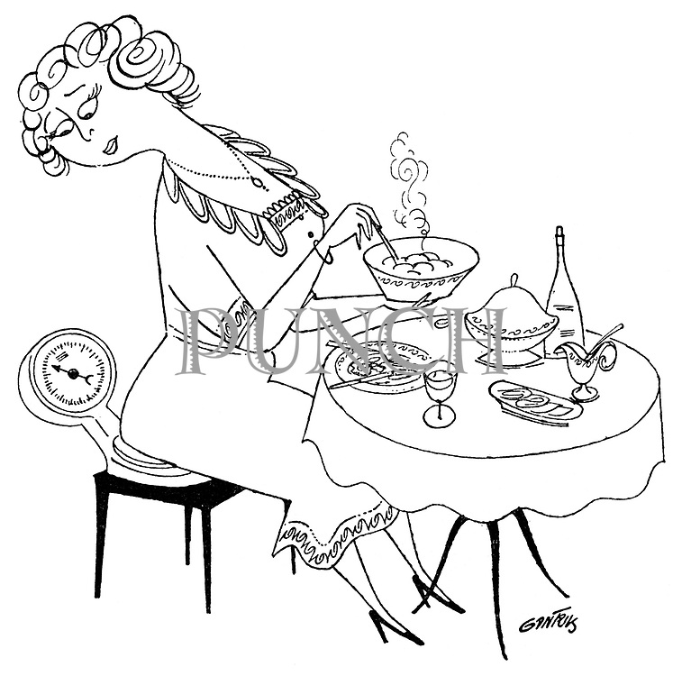 (A woman sits on a set of scales while eating her dinner)