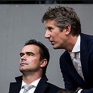 AMSTERDAM, Ajax - Olympique Lyon, voetbal, Europa League, halve finale, seizoen 2016-2017, 03-05-2017, Johan Cruijff Arena, Marc Overmars, Technical Director of Ajax Amsterdam (L), Edwin van der Sar, CEO / Director of Ajax Amsterdam (R)