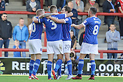 Carlisle United celebrate going 1-0 up during the EFL Sky Bet League 2 match between Morecambe and Carlisle United at the Globe Arena, Morecambe, England on 8 October 2016. Photo by Pete Burns.