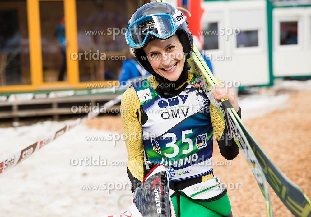 Eva Pinkelnig (AUT) during Trial Round at Day 1 of World Cup Ski Jumping Ladies Ljubno 2015, on February 14, 2015 in Ljubno, Slovenia. Photo by Vid Ponikvar / Sportida