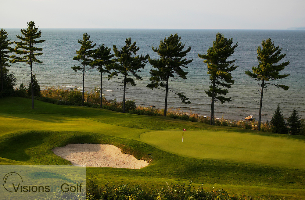 040911 Petoskey Michigan USA / Photo Christer H&circ;glund / The first hole at the Quarry golfcourse at Bay Harbor golf club, owned by Boyne USA Resorts. It is a nine hole course overlooking Lake Michigan and Little Traverse Bay. The course is designed by Arthur Hills<br /> <br /> Photo Visions In Golf/Christer Hoglund