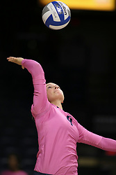 October 7, 2018 - Tucson, AZ, U.S. - TUCSON, AZ - OCTOBER 07: Arizona Wildcats setter Julia Patterson (4) serves the ball during a college volleyball game between the Arizona Wildcats and the Washington State Cougars on October 07, 2018, at McKale Center in Tucson, AZ. Washington State defeated Arizona 3-2. (Photo by Jacob Snow/Icon Sportswire) (Credit Image: © Jacob Snow/Icon SMI via ZUMA Press)