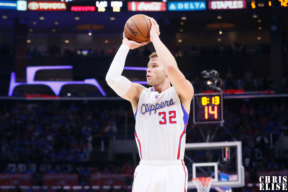 14 May 2015: Los Angeles Clippers forward Blake Griffin (32) takes a jump shot during the Houston Rockets 119-107 victory over the Los Angeles Clippers, in game 6 of the Western Conference semifinals, at the Staples Center, Los Angeles, California, USA.