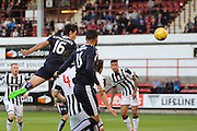 Julen Etxabeguren comes close with header which was saved by Dunfermline keeper Sean Murdoch  - Dunfermline Athletic v Dundee - Scottish League Cup at East End Park<br /> <br />  - © David Young - www.davidyoungphoto.co.uk - email: davidyoungphoto@gmail.com