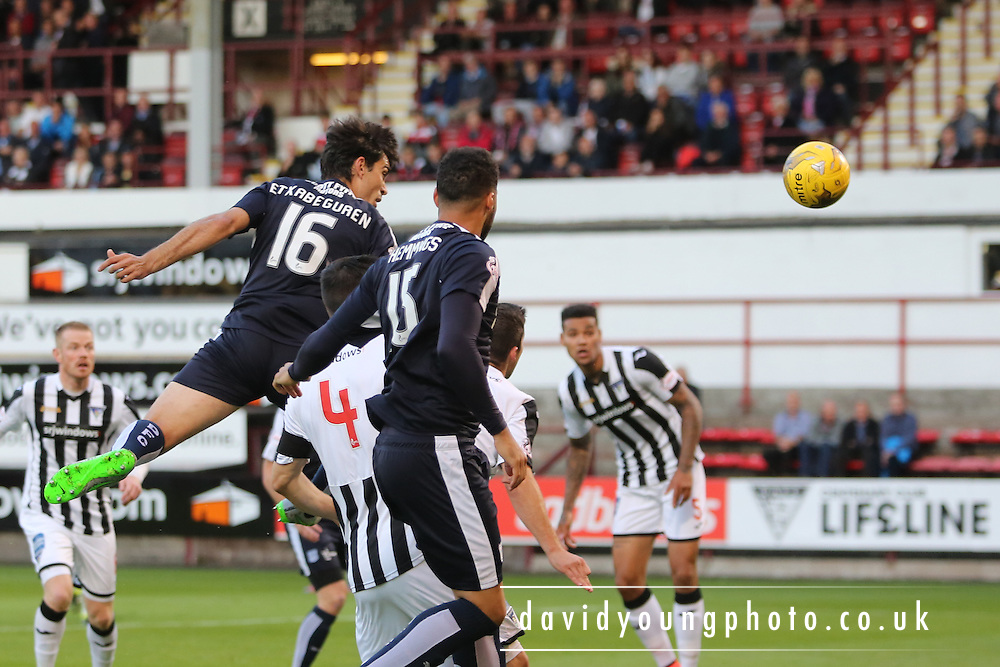 Julen Etxabeguren comes close with header which was saved by Dunfermline keeper Sean Murdoch  - Dunfermline Athletic v Dundee - Scottish League Cup at East End Park<br /> <br />  - &copy; David Young - www.davidyoungphoto.co.uk - email: davidyoungphoto@gmail.com