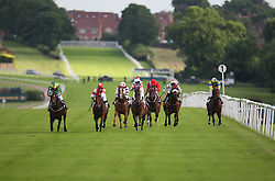 Addicted to Luck ridden by Miss C. Robinson (2nd L) wins the 6.40 The Langham Ladies' Handicap Stakes - Mandatory by-line: Jack Phillips/JMP - 21/06/2016 - HORSE RACING - Leicester Racecourse - Leicester, England - Leicester Racing