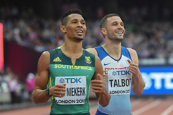 August 7, 2017 - London, England, United Kingdom - Wayde VAN NIEKERK, Nederlands, and Daniel TALBOT, Great Britain, during 200 meter heats in London on August 7, 2017 at the 2017 IAAF World Championships athletics. (Credit Image: © Ulrik Pedersen/NurPhoto via ZUMA Press)