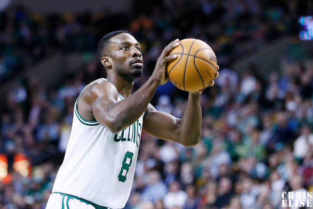 29 March 2013: Boston Celtics power forward Jeff Green (8) is seen at the free throw line during the Boston Celtics 118-107 victory over the Atlanta Hawks at the TD Garden, Boston, Massachusetts, USA.