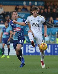 Alex Woodyard of Peterborough United in action with Bryn Morris of Wycombe Wanderers - Mandatory by-line: Joe Dent/JMP - 03/11/2018 - FOOTBALL - Adam's Park - High Wycombe, England - Wycombe Wanderers v Peterborough United - Sky Bet League One
